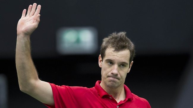 Richard Gasquet from France reacts after winning his match against Victor Troicki from Serbia in Rotterdam. Picture: Koen Suyk