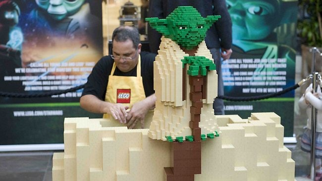 LEGO certified professional Ryan McNaught builds a 3m Yoda at Westfield Doncaster.
