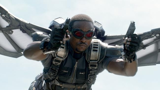 Mackie in Falcon guise — he's proud to be part of the Marvel and Avengers universe. Picture: Marvel/Disney