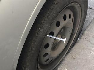 Syringes stuck into the tyres of vehicles in and near Lennox St, Richmond. Pic supplied.