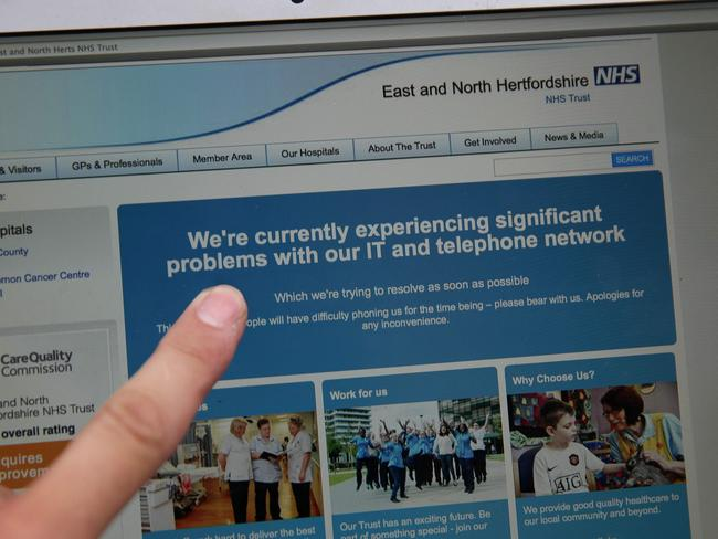 The NHS: East and North Hertfordshire notifying users of a problem in its network on May 12. Picture: Daniel Leal-Olivas/AFP