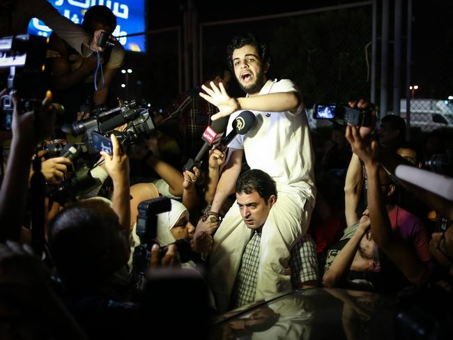 Freed ... Egyptian Al-Jazeera journalist Abdullah Elshamy is released from detention due to poor health, after five months on a hunger strike. Picture: AFP