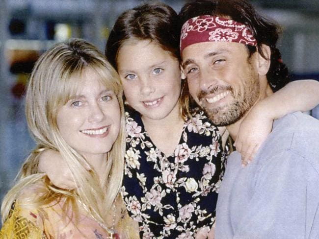 Olivia Newton-John, with daughter Chloe and then husband Matt Lattanzi, in 1993.
