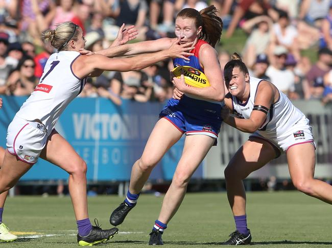 Tiarna Ernst of the Bulldogs in action during round 1. Picture: David Crosling