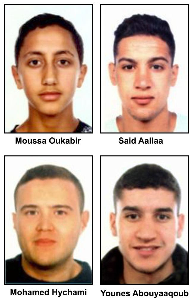 The terror cell behind the Barcelona and Cambrils attacks: Moussa Oukabir, Said Aalla, Mohamed Hychami and Younes Abouyaaqoub. Picture: AFP