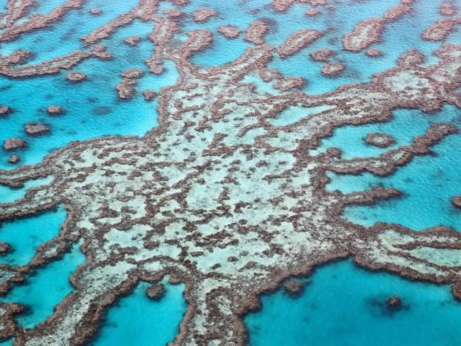 Aerial image over the outer Geat Barrier Reef in the Whitsundays. Photo Lachie Millard