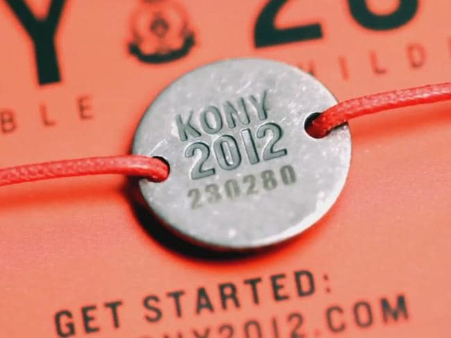 A bracelet, one of the merchandise items that the KONY 2012 campaign was selling. Picture: Supplied.
