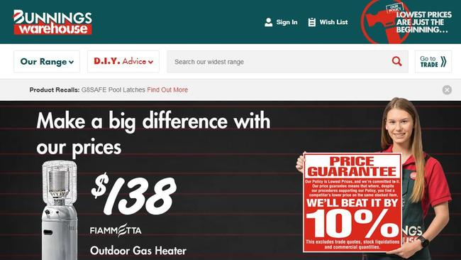 The Australian website is all about low prices.