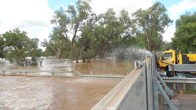 The flood levee in Charleville is in danger of collapse / Picture: Rob Maccoll