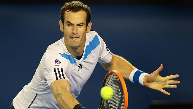Andy Murray plays a backhand return to Roger Federer. Picture: Wayne Ludbey