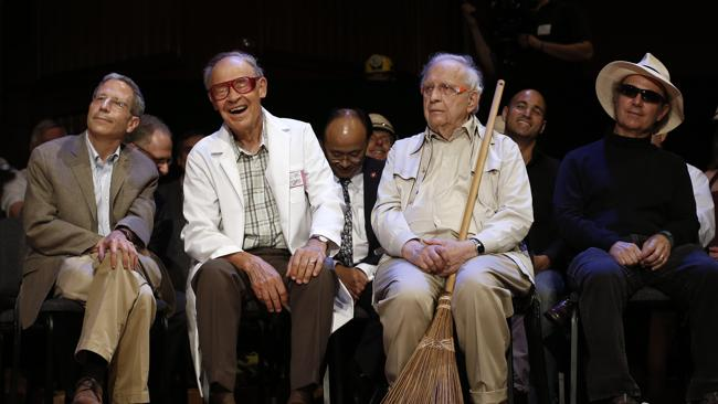 Nobel Laureates, from left, Eric Maskin, Economics, 2007; Dudley Herschbach, Chemistry, 1986; Roy Glauber, Physics, 2005; and Frank Wilczek, Physics, 2004; look on during the annual Ig Nobel prize ceremony at Harvard University. (AP Photo/Winslow Townson)