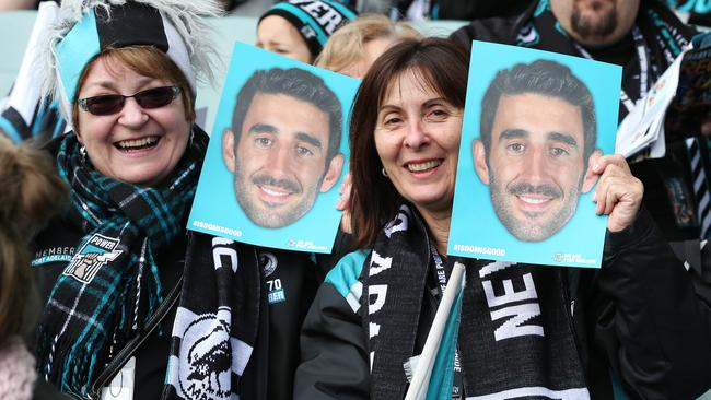 Port Adelaide fans recently paid tribute to Dom Cassisi. Picture: Sarah Reed