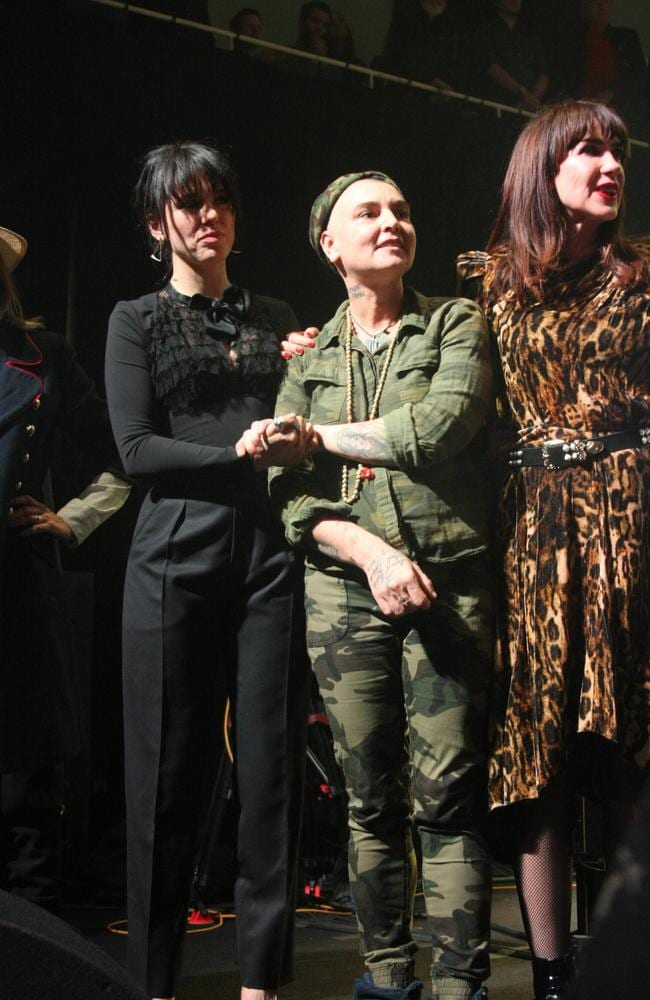 Sinead O' Connor, with singer Imelda May and Shane MacGowan's longtime partner, Victoria Mary Clark, performed at the show. Picture: Splash News
