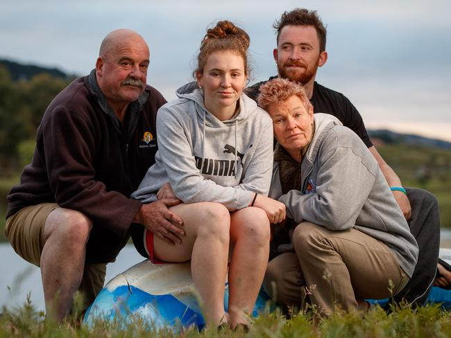 Chris, Adrienne and Mitch Williams and daughter Sarah, 15, at their Mount Compass Home. Picture: Matt Turner