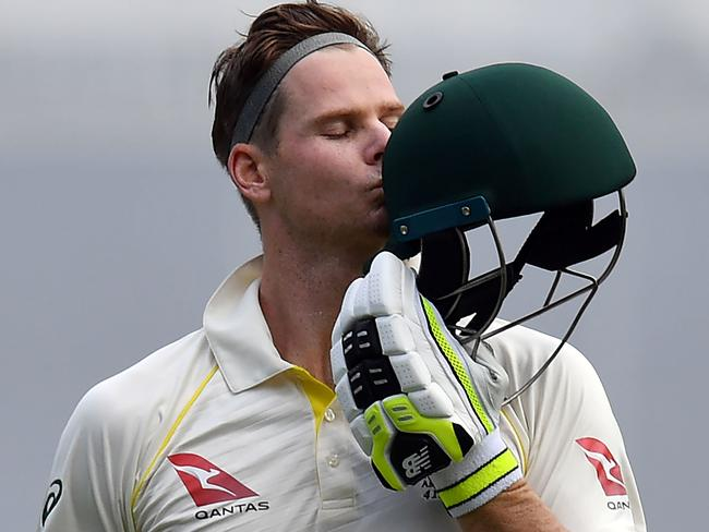 Australia's batsman Steve Smith celebrates another ton.