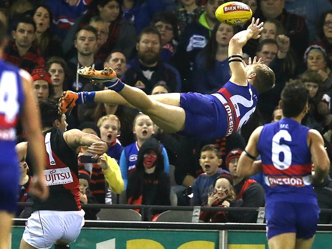Lachie Hunter launches himself in a Mark of the Century attempt. Picture: Wayne Ludbey