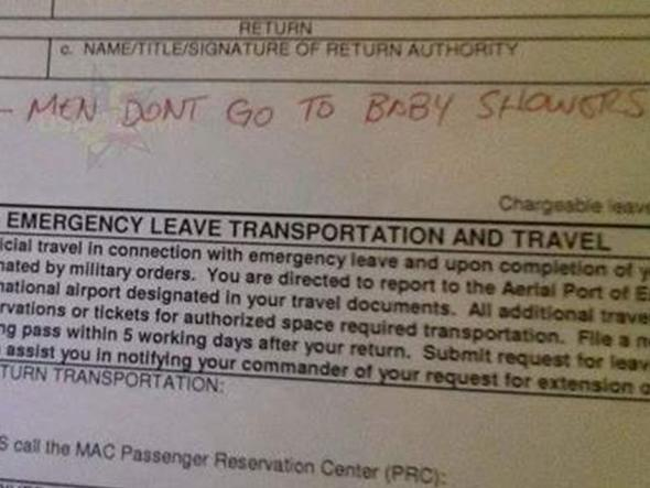 'Men don't go to baby showers' note goes viral