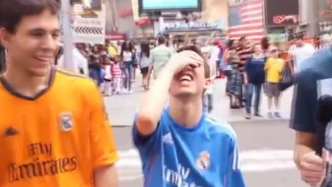 The Real Madrid fan realises he's made an embarrassing error.