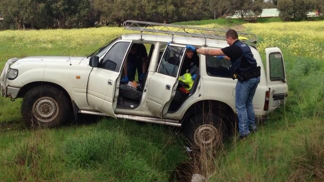 Police allege Shannon Klimczak was caught after a chase where his vehicle came to a stop after being bogged. Picture: Nine News Perth