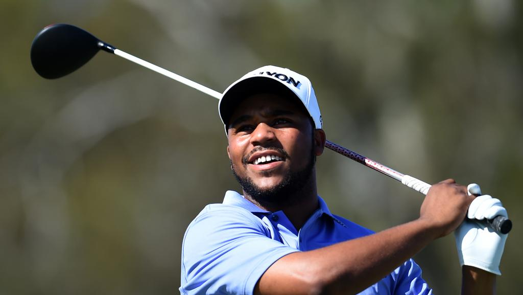 US golfer Harold Varner III tees off during the second round of the Australian PGA