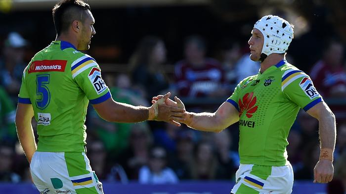 Jordan Rapana of the Raiders, (left), is congratulated by Jarrod Croker after scoring a try during the round 25 NRL match between the Manly-Warringah Sea Eagles and the Canberra Raiders at Brookvale Oval in Sydney, Saturday, Aug. 27, 2016. (AAP Image/Dan Himbrechts) NO ARCHIVING, EDITORIAL USE ONLY