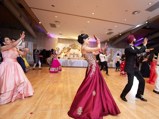 Family and friends took part in extravagant Bollywood dance routines. Picture: Southern Light Photography