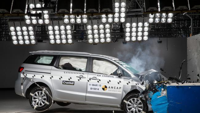 The Kia Carnival was updated following a four-star crash result in 2015. Pic: Supplied.