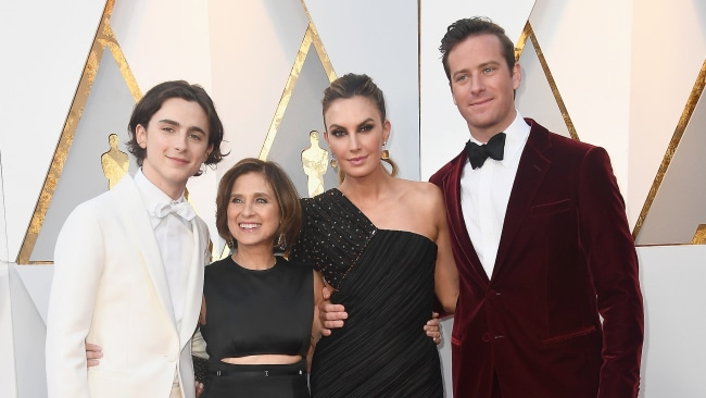 Timothee Chalamet and his mum, Elizabeth Chambers and Armie Hammer. Photo: Getty