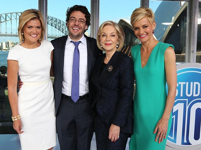 Studio 10 presenters Sarah Harris, Joe Hildebrand, Ita Buttrose and Jessica Rowe.