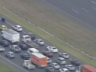 Traffic is banking up on the Princes Freeway after a smash. Picture: 7 News