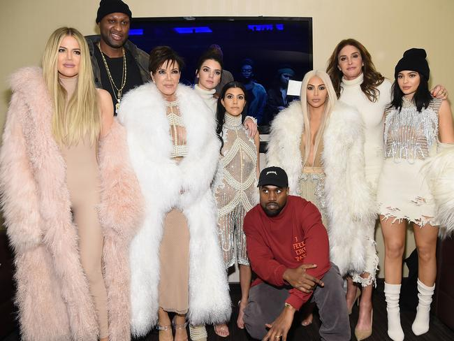 Family ... Lamar Odom, the Kardashians and Jenners attend Kanye West's fashion show and listening party in New York. Picture: Jamie McCarthy/Getty Images for Yeezy Season 3