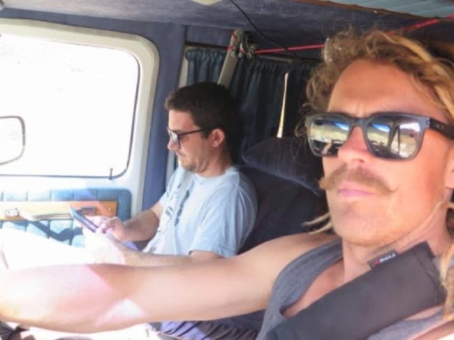 Australian tourists Adam Coleman and Dean Lucas in the van in which they were ambushed, shot and their vehicle torched in Sinaloa state, Mexico in 2015.