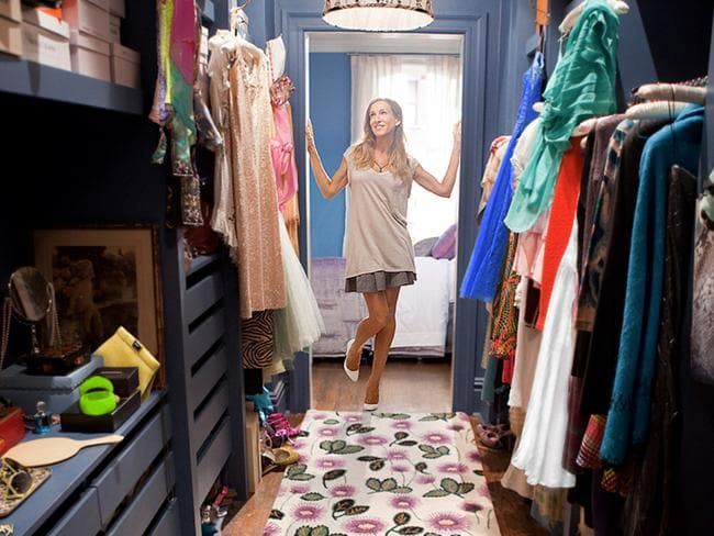 Sarah Jessica Parker in her famous Sex and the City walk-in closet.