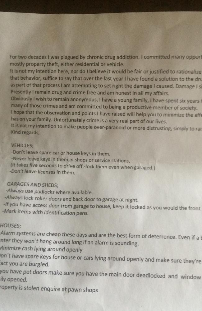 The letter sent to some houses in Rowville: Picture: Supplied