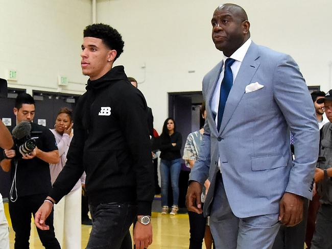 Lonzo Ball with Magic Johnson after being drafted as a Laker.
