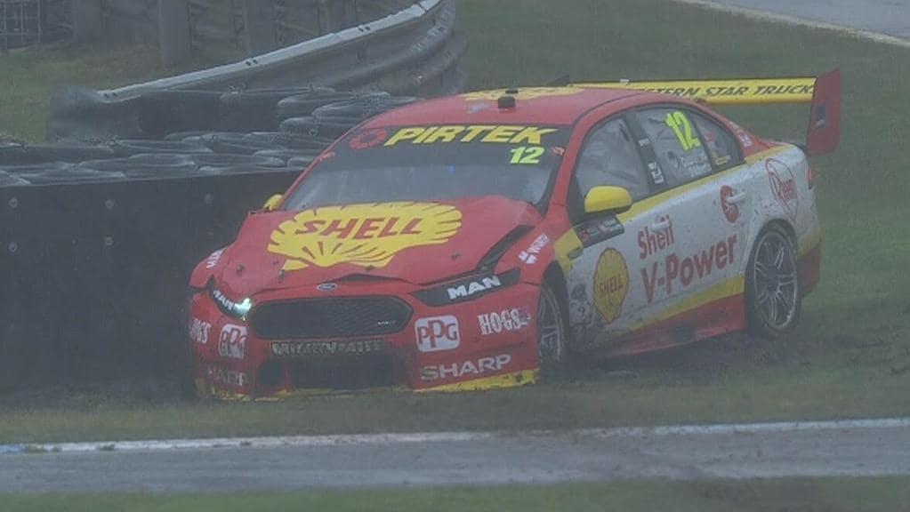 Fabian Coulthard crashes during Practice 2, Sandown 500