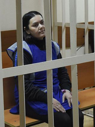 Bobokulova was not wearing her hijab as she sat inside the court's cage. Picture: AFP/Vasily Maximov.