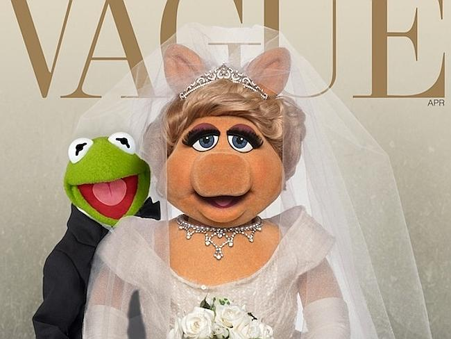 """Vague! ... Loved-up couple Kermit and Miss Piggy appear on the cover of """"Vague"""" magazine, spoofing Kimye's latest appearance. Pictures: Facebook/The Muppets"""