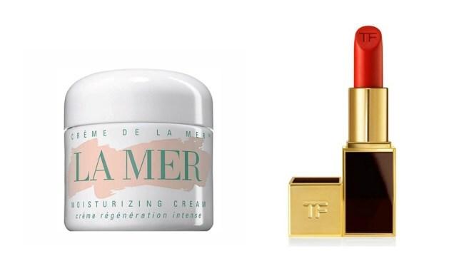 Left to right: La Mer Creme De La Mer Ultrarich Cream and Tom Ford Matte Lip Color in Flame