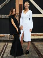 Designer Kym Ellery pictured with model Gemma Ward before she kicks off Mercedes Benz Australian Fashion Week at the Carriageworks in Sydney. Picture: Toby Zerna