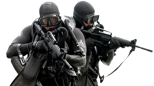 US Navy SEAL special forces troops reported swam to the beach before attacking a terrorist sea-side stronghold in Somalia.