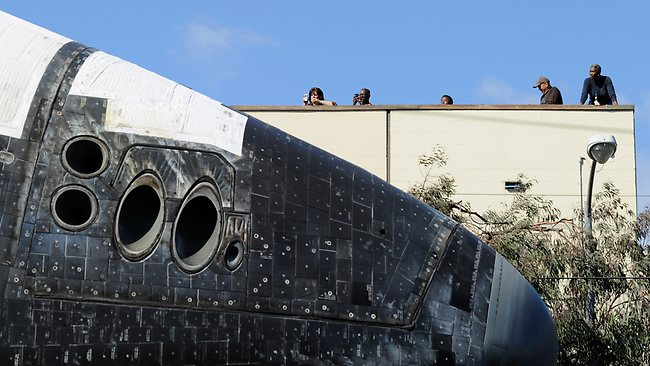 The space shuttle Endeavour is transported to the California Science Center in Exposition Park from Los Angeles International Airport. Picture: Kevork Djansezian