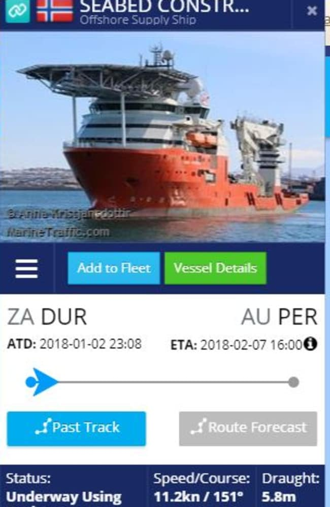The  <i>Seabed Constructor</i> is expected to dock at Perth on February 7 but will enter the new search zone around January 17. Picture: MarineTraffic.com