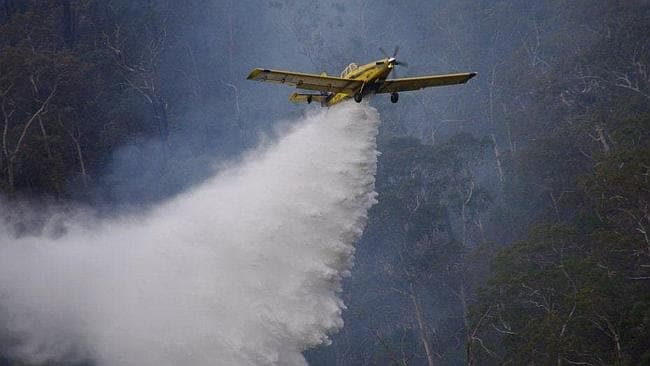 A water bomber battles the fire at Cherryville last May.