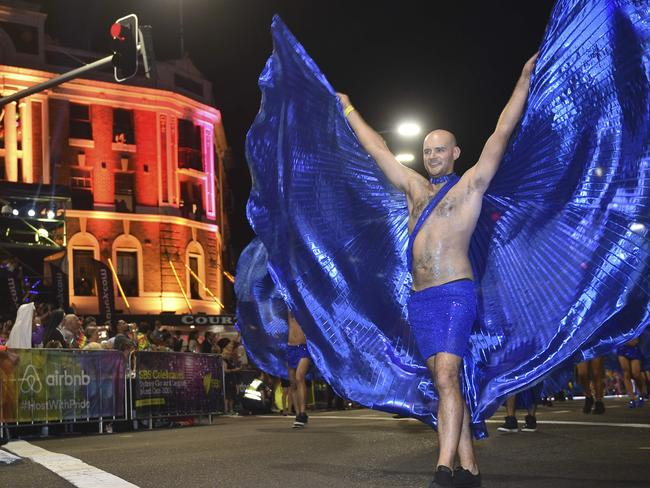 Colours hit the streets ... Participants take part in the annual Sydney Gay and Lesbian Mardi Gras Parade. Picture: AFP