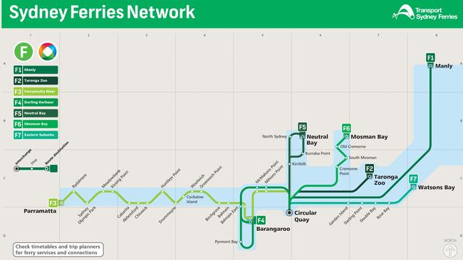 The new Sydney Ferry map.