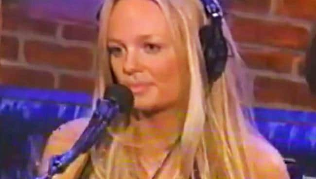 Emma Bunton squirms at Howard Stern's offensive questions.
