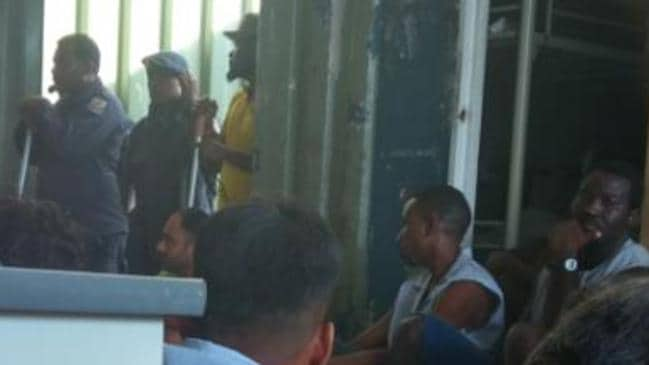 Police have entered Manus Island detention centre and are forcing the men leave. Picture: GetUp!
