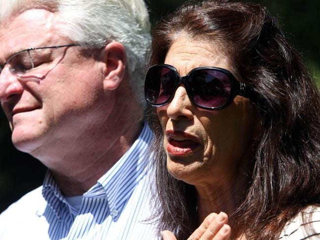 Diane and John Foley talk to reporters about their son James. Pic: AP.