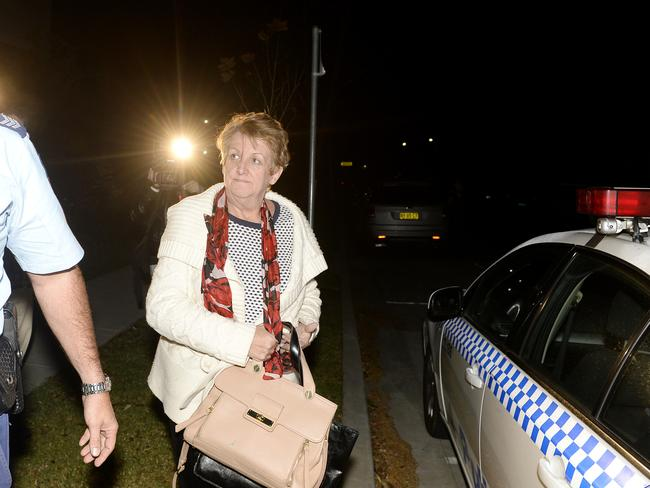 Karen Bailey leaves Wyong police station last night after her earlier arrest for abusing passengers on a train. Picture: Peter Clark